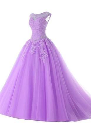 Vestido de debutante carol 15 anos formatura festas baile lilás