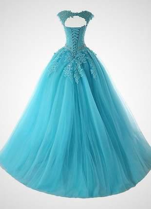 Vestido de debutante comprido princesa carol 15 anos formatura madrinha festa