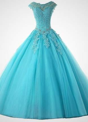 Vestido comprido para debutante carol 15 anos formatura festa princesa