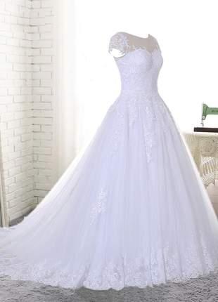 Vestido de noiva casamento sophia renda bordada com cauda