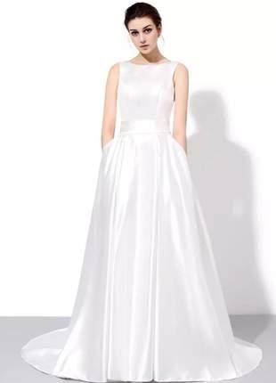 Vestido de casamento noiva comprido letícia em cetim formatura eventos
