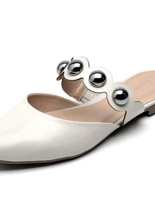 Sandália feminina mule bico fino gelo bolas couro