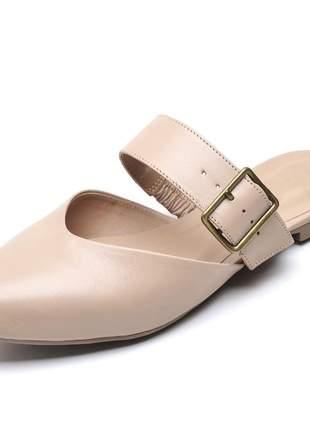 Sandália feminina mule bico fino bege fivela couro