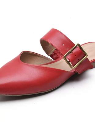 Sandália feminina mule bico fino vermelha fivela couro