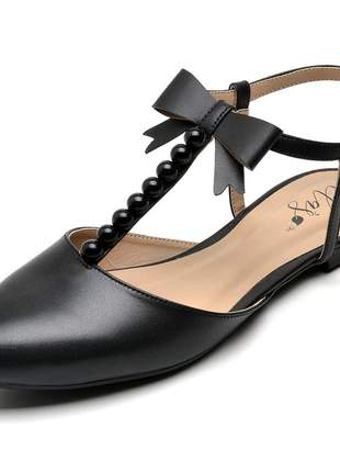 Sandália rasteira feminina bico fino preto bolas laço couro