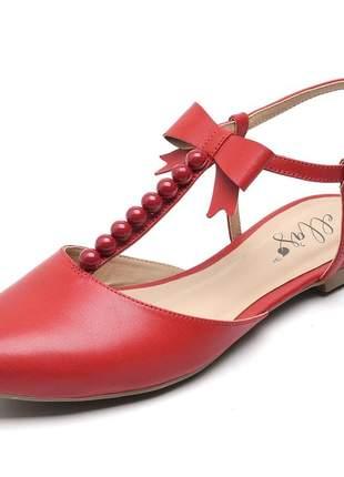 Sandália rasteira feminina bico fino vermelha bolas laço couro