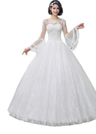 Vestido de noiva casamento lorena comprido debutante
