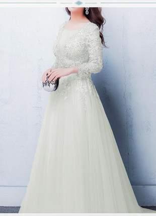 Vestido de noiva casamento lila longo ou debutante off white rendado