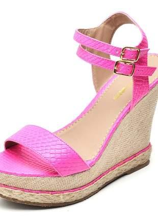 Sandália anabela tira salto alto napa neon rosa