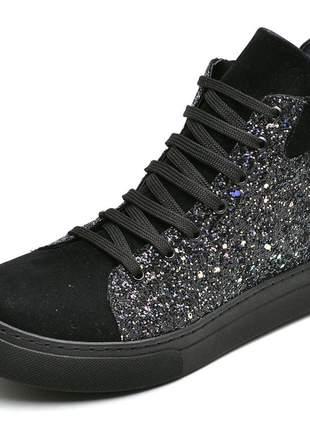 Tênis cano alto feminino preto detalhe glitter