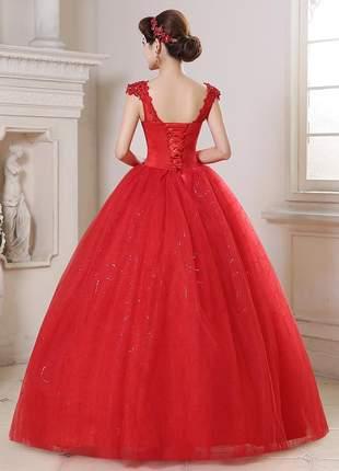 Vestido de noiva princesa casamento ou debutante romântico vermelho floral  estilo vintage