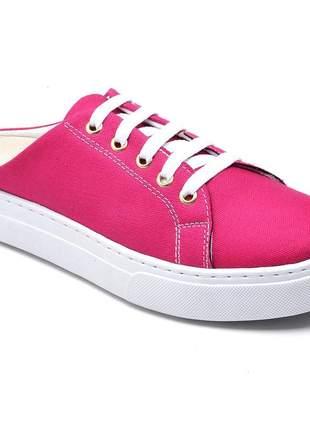 Tênis casual feminino babuche mule rosa pink amarração