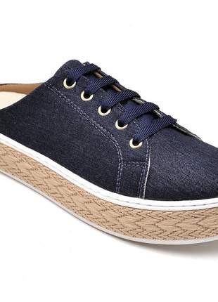Tênis babuche feminino  jeans sola alta corda