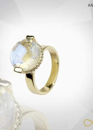 Anel de cristal lapidado metalizado com zircônias folheado a ouro 18k
