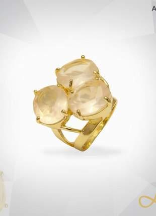 Anel quartzo rosa lapidado folheado a ouro 18k