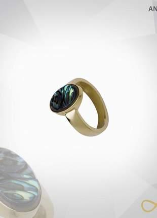 Anel oval abalone folheado a ouro 18k