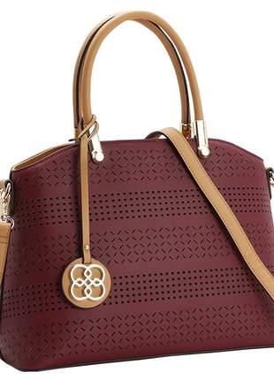 Bolsa feminina com detalhes perfurada vinho chenson 1080