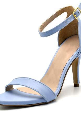 Sandália feminina social salto alto fino em napa azul serenity