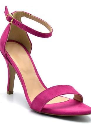 Sandália feminina social salto alto fino camurçado rosa pink