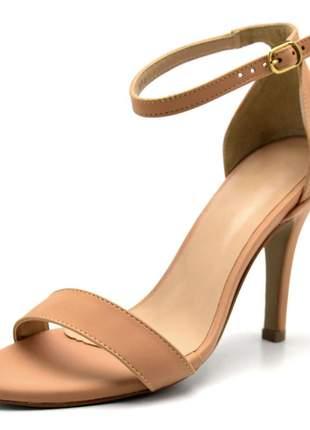 Sandália feminina social salto alto fino em napa nude