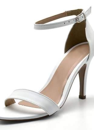 Sandália feminina social salto alto fino em napa branca