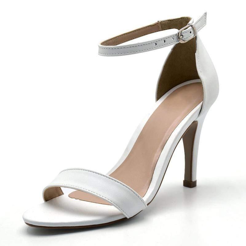 2f618254f Sandália feminina social salto alto fino em napa branca - R$ 114.90 ...