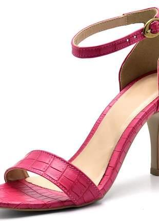 Sandália feminina social salto alto fino em napa croco pink