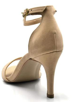 Sandália feminina social salto alto fino em nobucado nude