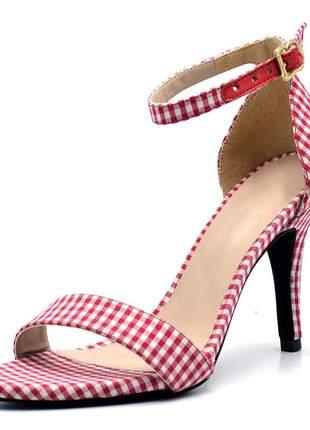 Sandália feminina social salto alto fino em tecido xadrez vermelho