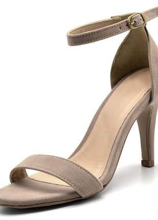Sandália feminina social salto alto fino em nobucado taupe