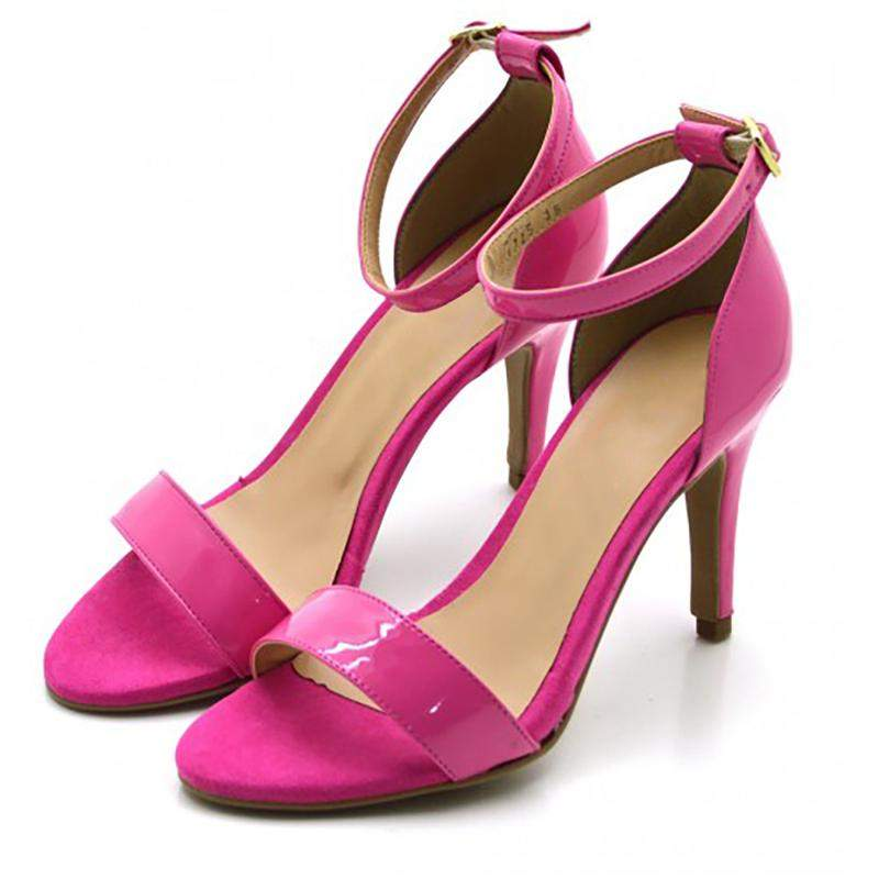 f2449d1f75 ... Sandália feminina social salto alto fino em napa verniz rosa3 ...