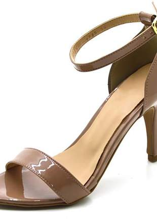 Sandália feminina social salto alto fino em napa verniz nude