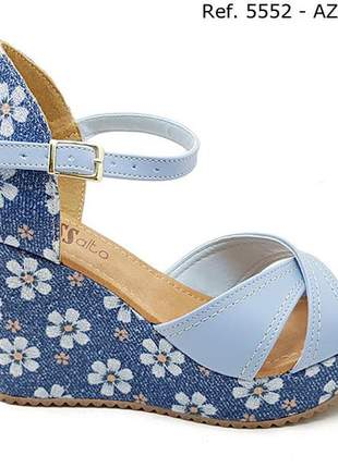 Sandália anabela plataforma sobressalto azul floral x