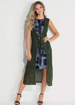 Colete alongado tricot verde escuro