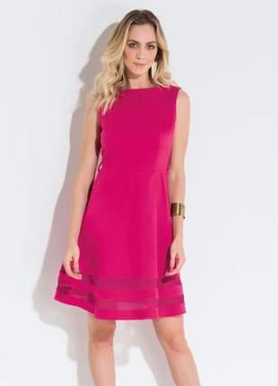 Vestido festa regata tule rosa