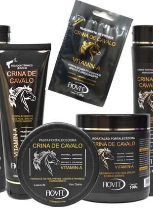 Kit crina de cavalo fiovit fortalecimento e crescimento capilar tratamento completo