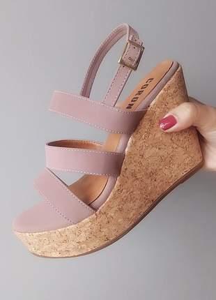 Sandalia anabela rosa seco