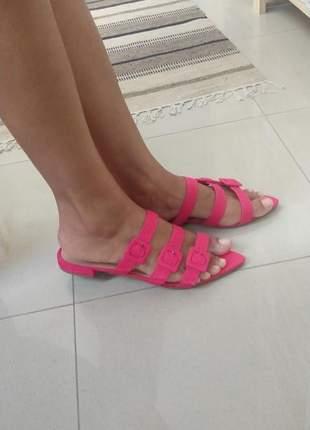 Sandalia feminina rasteira pink dali shoes