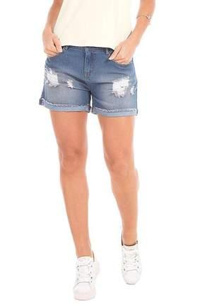 Short feminino jeans destroyed