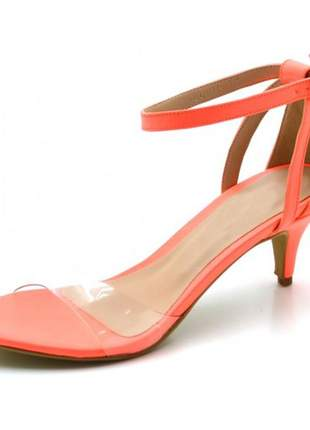 Sandália feminina salto baixo fino em napa neon laranja