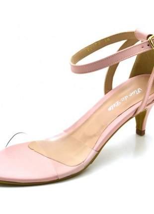 Sandália feminina salto baixo fino em napa rosa bebê