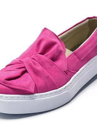 Tênis feminino slip on com laço em camurçado rosa pink