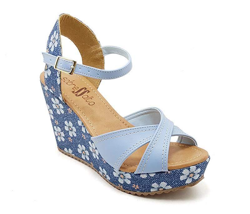 8e1e28c642 Sandália anabela plataforma sobressalto azul floral x - R  119.90 ...
