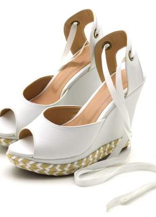 Sandália espadrille anabela salto alto em napa branca