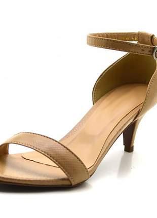 Sandália feminina social salto baixo fino em napa croco nude