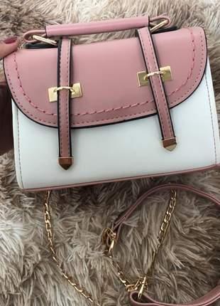 Bolsa rosa social de mão e transversal com alça de corrente ref 103