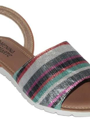 Sandália rasteira avarca brilho