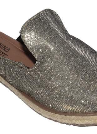 Tamanco feminino estilo mule prata brilho corda