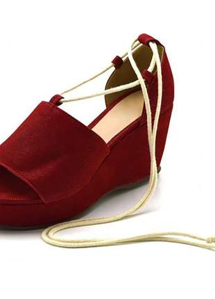 Sandálial anabela salto médio vermelha