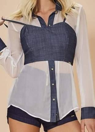 Camisa transparente com cropped